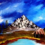Paint sip nosh at the Freight House - Bob Ross style mountain scene