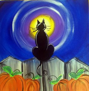 Painting a Halloween Cat at Mallard's on the St. Croix
