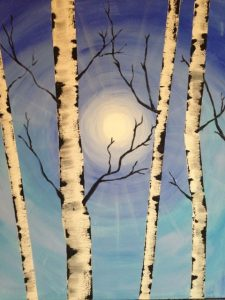 "Painting at Mallards on the St. Croix - ""Winter Birch"""