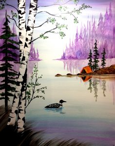 Painting at the Water Street Inn: Loon Lake