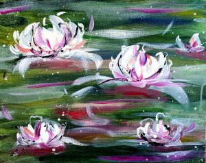 Paint Water Lilies on the St. Croix with Half priced bottles of wine