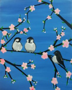 "Painting on the St Croix - ""Spring Chickadees"""