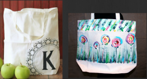 Painting with, or for, mom - Canvas Bags perfect for Mother's Day!