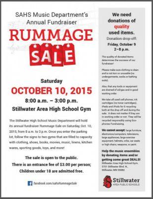 Stillwater Area High School Music Department Rummage Sale