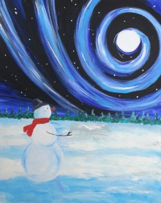 Paint-Sip-Nosh! | 'Swirly Snowman' with Rachel