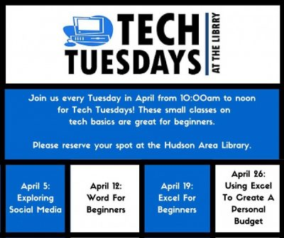 Tech Tuesdays at the Hudson Area Library