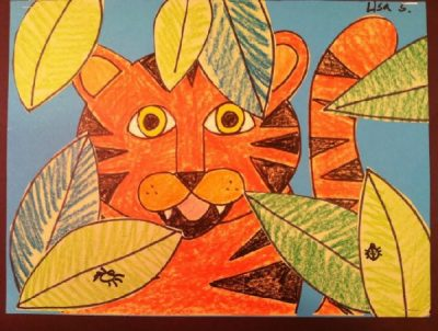 Tiger in a Tropical Forest - Mixed Media Art