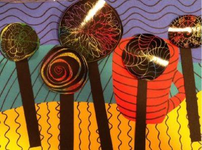 Lollipop Tree Whimsical Landscape - Mixed Media Art