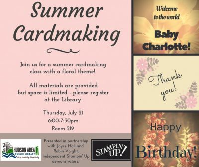 Summer cardmaking at the Hudson Area Library