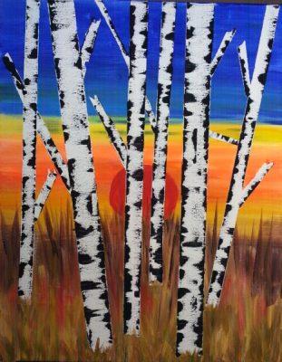 Paint-Sip-Nosh! | 'Birch Tree Sunset'