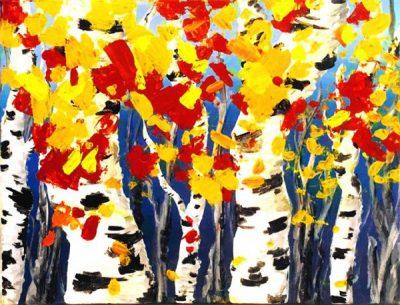 Paint-Sip-Nosh! | 'Fall Birch Trees'
