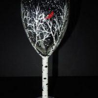 NEW Class! Wine Glass Painting - Birch Tree & Cardinal